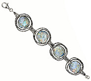 Or Paz Sterling 6-3/4 Roman Glass Station Bracelet - J317795