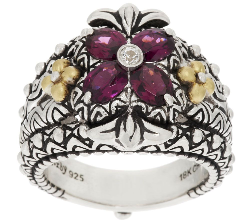 Barbara Bixby Sterling Silver & 18K Gold Flower Gemstone Ring