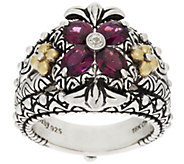 Barbara Bixby Sterling Silver & 18K Gold Gemstone Flower Ring - J319595