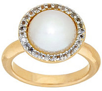 Honora Cultured Pearl 10.0mm and .20 ct tw White Topaz Bronze Ring - J319995