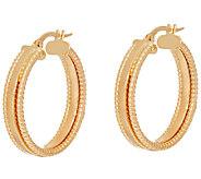 18K Gold Polished & Textured 1 Hoop Earrings - J321995