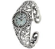 Carolyn Pollack Sterling Silver Signature Cuff Bracelet Watch - J322195