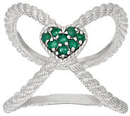 Judith Ripka Sterling Emerald Heart X Ring - J322395