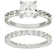 Diamonique 2-Piece 100-Facet Ring, Platinum Clad - J324095