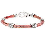 JAI Sterling Croco Texture Station Leather Bracelet - J324195