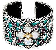 Barbara Bixby Sterling & 18K Multi-Gemstone Castle Cuff Bracelet -Small - J324695