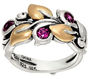 Barbara Bixby Sterling & 18K Yellow Gold Gemstone Vine Leaf Ring - J326495