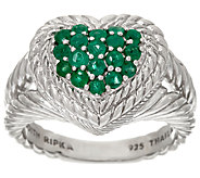 Judith Ripka Sterling Pave 0.55 cttw Emerald Heart Ring - J326895