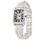 As Is UltraFine Silver Polished DoubleByzantine Strap Watch - J327295
