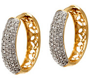Pave Diamond Huggie Hoop Earrings, 1/2 cttw, 14K Gold, Affinity - J327895