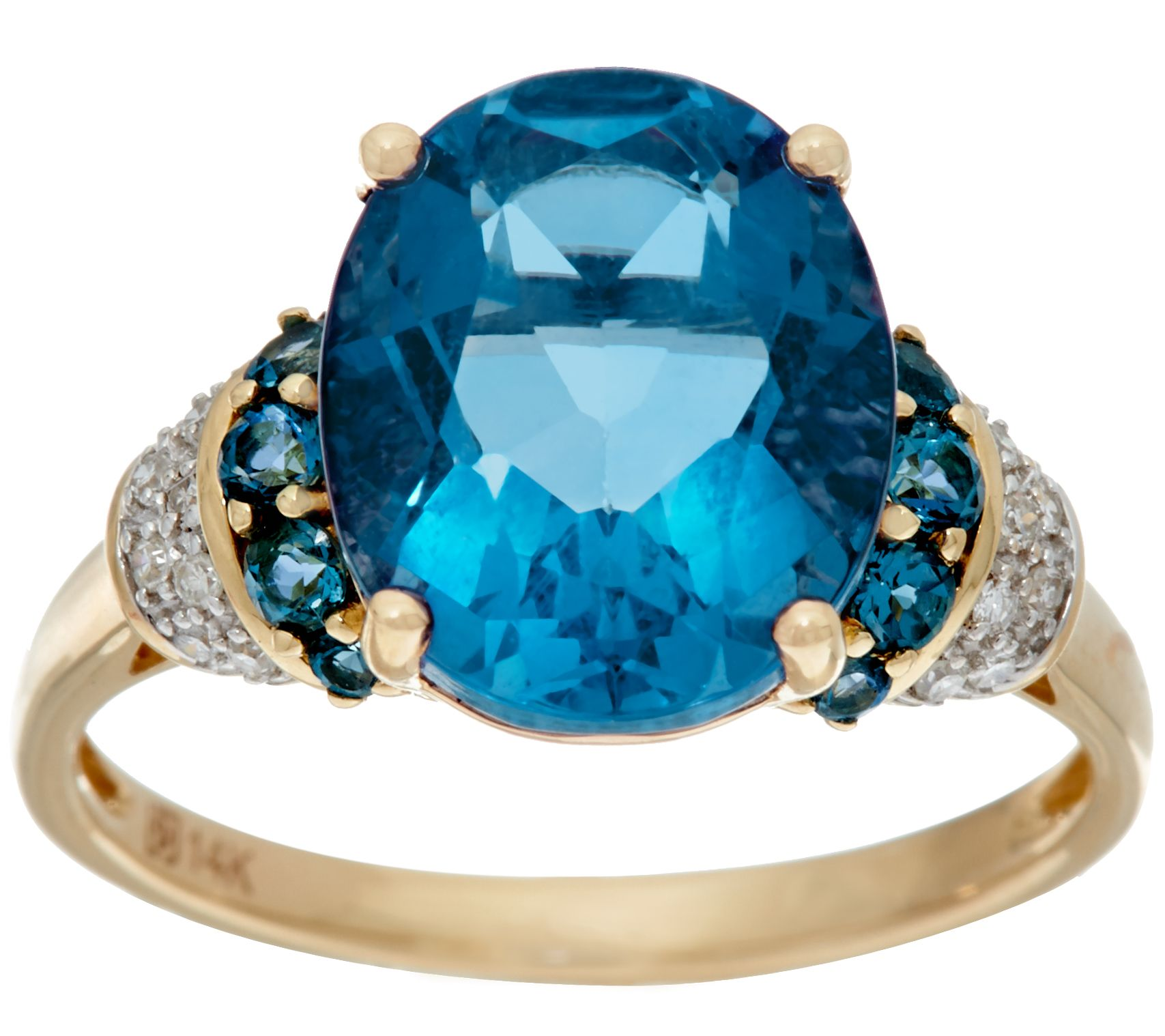 Color Change Fluorite & London Blue Topaz, 14K Gold, 5.20 cttw