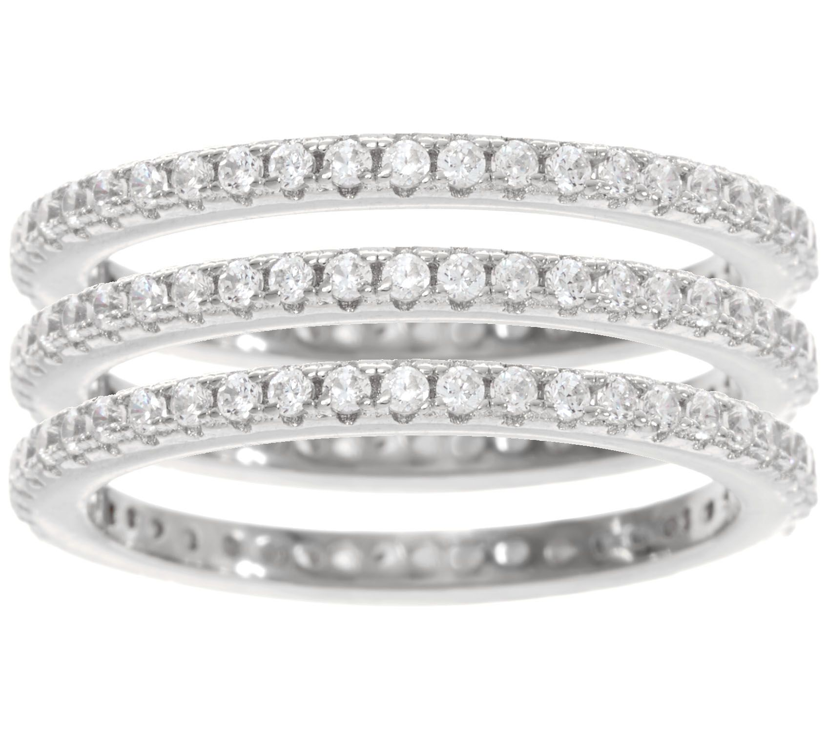 Diamonique Set Of 3 Eternity Band Rings, Sterling Or Tricolor  Page 1 —  Qvc