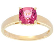 Cushion Cut Pink Tourmaline Ring, 14K Gold 1.30 ct