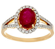 Precious Gemstone & Diamond Ring 14K Gold 0.90 ct - J329995