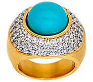 As Is Oro Nuovo Gemstone Cabochon & Pave Crystal Ring, 14K - J330395