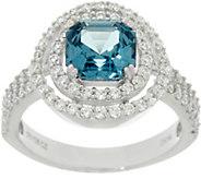 Diamonique Halo & Simulated Tourmaline Ring, Platinum Clad - J330595