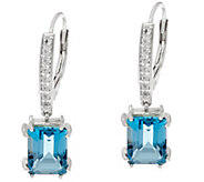 London Blue & White Topaz Sterling Silver Earrings, 4.65 cttw - J335795