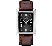 Caravelle New York Mens Rectangular Face Leather Band Watch - J336795