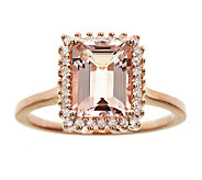 1.65cttw Morganite and Diamond Halo Ring, Sterling 14K Rose - J337395