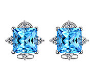 Judith Ripka Sterling Blue Topaz & Diamonique Stud Earrings - J340095