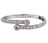 Judith Ripka Sterling Morganite & Diamonique By pass Cuff - J340495