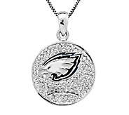 NFL Sterling Silver Crystal Disc Pendant w/Chai n - J340795