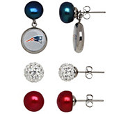 Honora NFL Set of 3 Stainless Stud Earrings with Charms - J341095