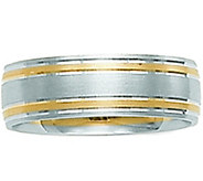 14K White Gold Two-Tone Comfort Fit SatinWedding Band - J341295