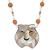 Lee Sands Tiger Inlay Pendant on 20 Bead & Shell Necklace - J342895