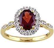 14K Yellow Gold 2.00 cttw Garnet & White TopazRing - J343295
