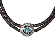 American West Sterling Turquoise Concha Leather Choker - J343895
