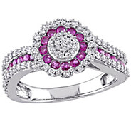 0.60 cttw Ruby & 1/2 cttw Diamond Ring, 14K White Gold - J344095