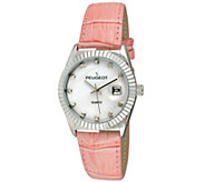 Peugeot Womens Silvertone Coin Bezel Pink Leather Watch - J344595