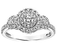 Round Three Stone Diamond Ring, 14K, 4/10 cttw,by Affinity - J345095