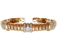 Judith Ripka 14K Rose Gold-Clad Textured Diamonique Cuff - J345795