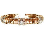 Judith Ripka 14K Rose Gold-Clad Textured Diamonique Cuff - J345795