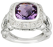As Is JAI Sterling Cushion Cut Amethyst Croco Textured Ring - J347195