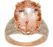 Oval Morganite & Diamond Bold Ring 14K Gold 7.00 cts - J347495