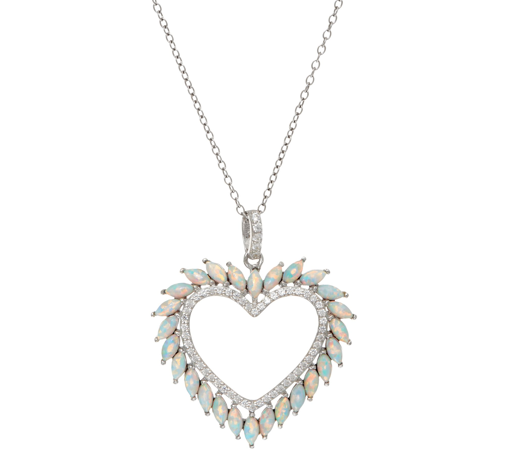 Diamonique and Synthetic Opal Heart Pendant, Sterling - J348595