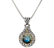 As Is Artisan Crafted Sterling & 18K Gold Gemstone Pendant w/Chain - J349595