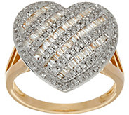 Baguette & Round Diamond Heart Shaped Ring, 14K Gold by Affinity - J349795