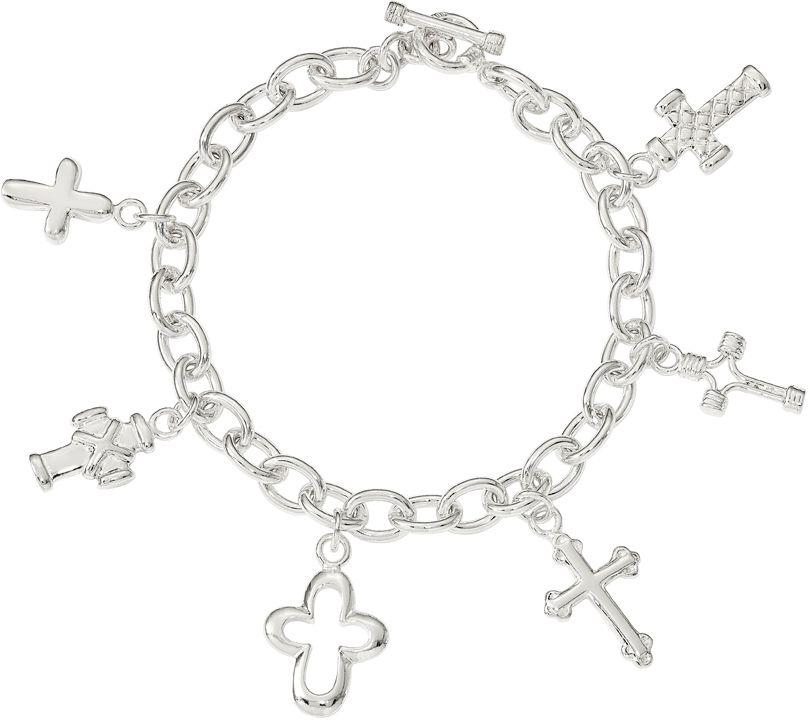 Dangling Cross Bracelet: Sterling Multi-Cross Dangle Bracelet, 18.4g BySilver Style