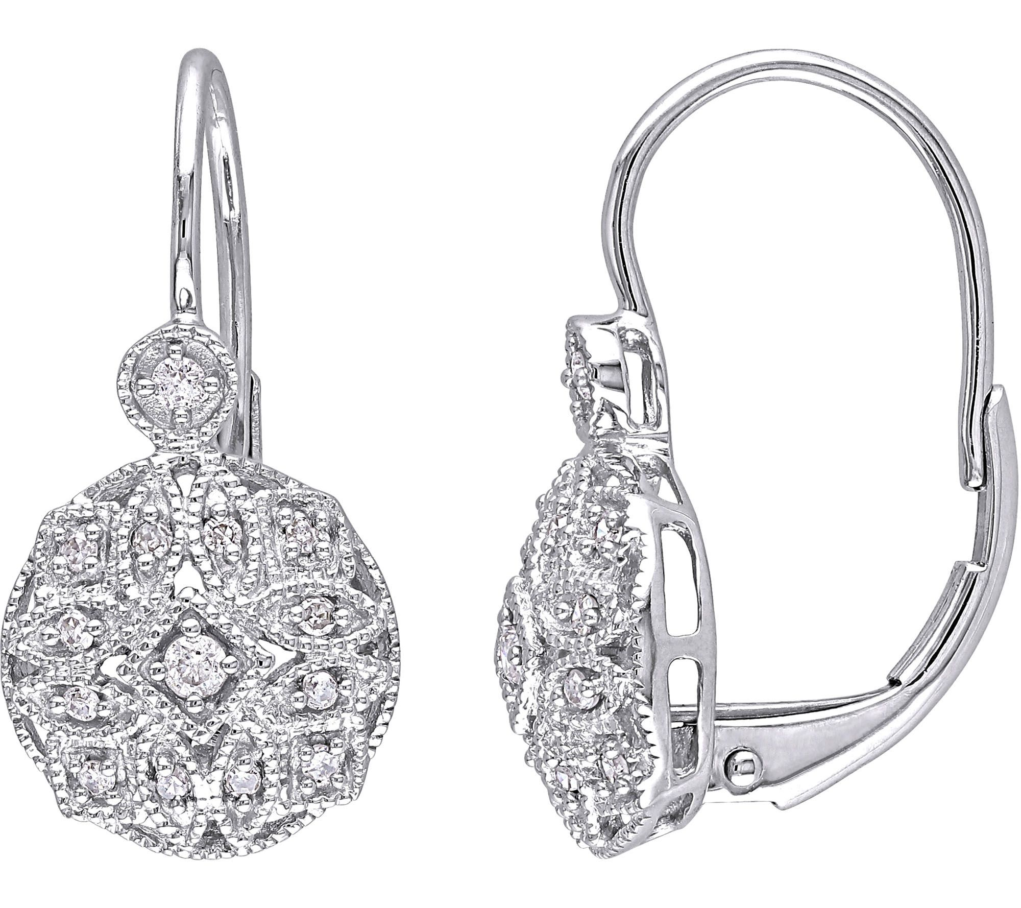 diamond filigree earrings 14k white gold 1 8cttw