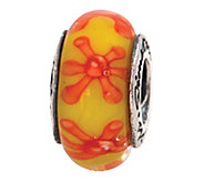 Prerogatives Sterling Yellow and Orange Glass Bead - J108796