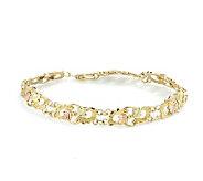 Black Hills 7-1/2 Faceted Leaf Bracelet, 10K/1 2K Gold - J110796