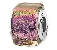 Prerogatives Sterling Purple Dichroic Glass Square Bead - J113396
