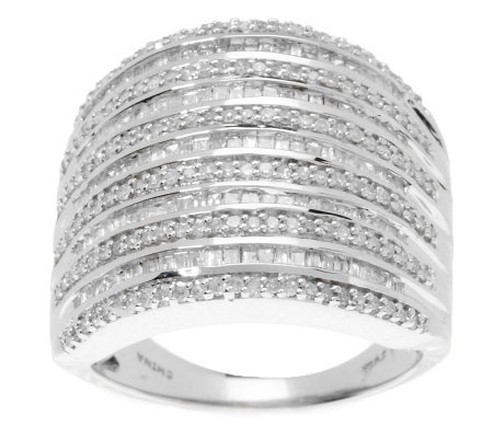 baguette multi row diamond ring sterling cttw by. Black Bedroom Furniture Sets. Home Design Ideas