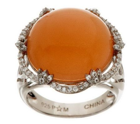 11.75 ct tw Bold Moonstone and White Topaz Sterling Ring