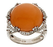 11.75 ct tw Moonstone & White Topaz Bold Sterling Ring - J275696
