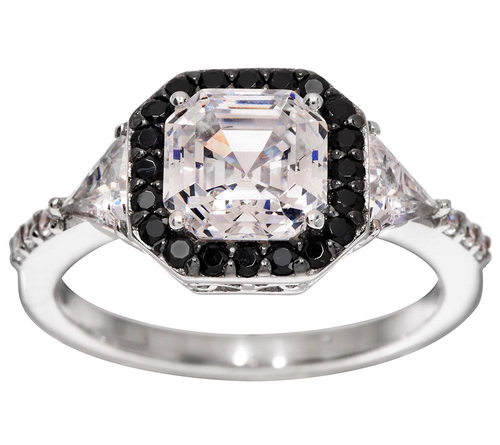 diamonique black clear asscher cut ring platinum clad j276996 - Diamonique Wedding Rings